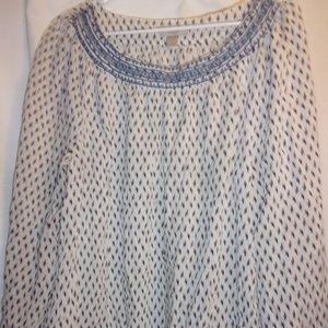 Ann Taylor Loft Sz L White Blue Pattern Top